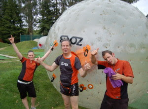 Mike at the end of his zorbing experience