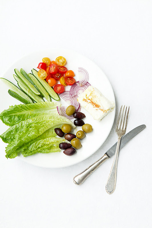 Greek salad with baked feta