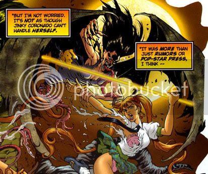 Banzai Girl fighting the Manananggal