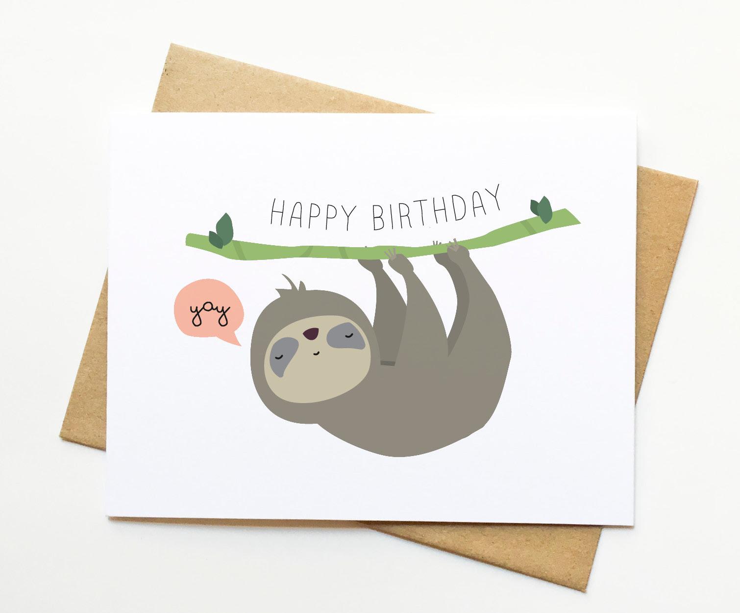 Sloth Happy Birthday Cute Illustration Card Le Trango Online