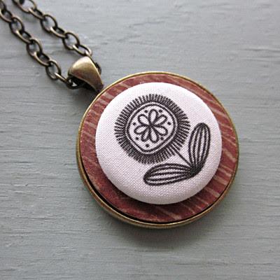 Woodgrain Button Necklace