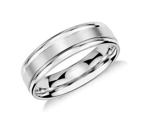 brushed inlay wedding ring  platinum mm blue nile