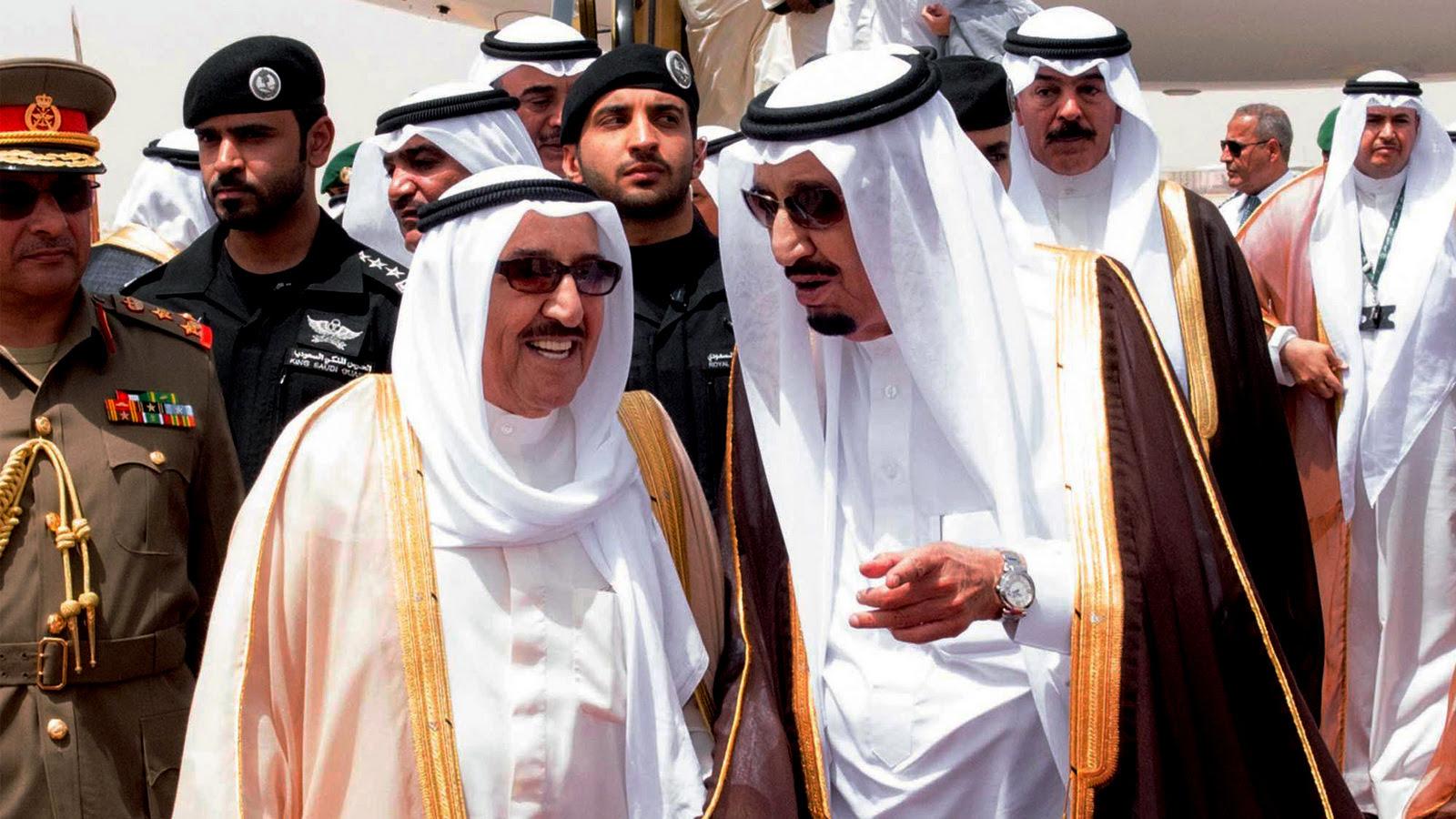 King Salman of Saudi Arabia, right, welcomes Kuwaiti Prince Sabah Al Ahmed Al Sabah upon his arrival to Riyadh Airbase before the opening of Gulf Cooperation Council summit in Riyadh, Saudi Arabia,, May 5, 2015. (Saudi Arabian Press/AP)