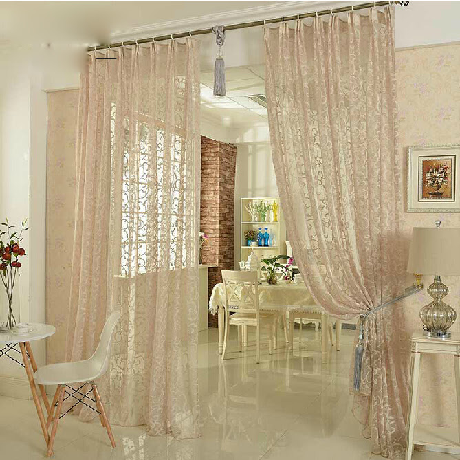 High-end Polyester Bay Window Discount Sheer Curtains