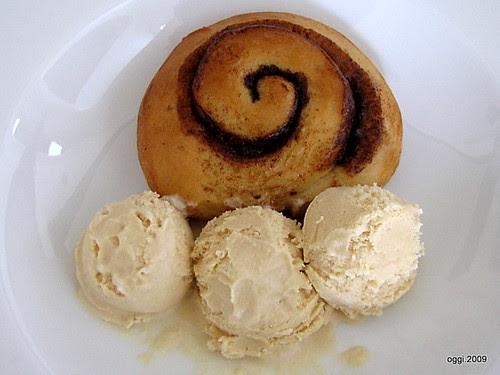 Cinnamon Bun and Ice Cream