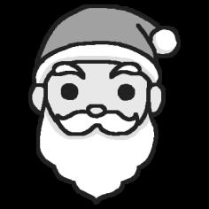 顔モノクロサンタクロースミニカットクリスマス無料イラスト素材