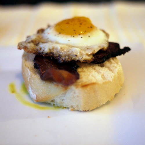 Quail eggs and Canadian bacon