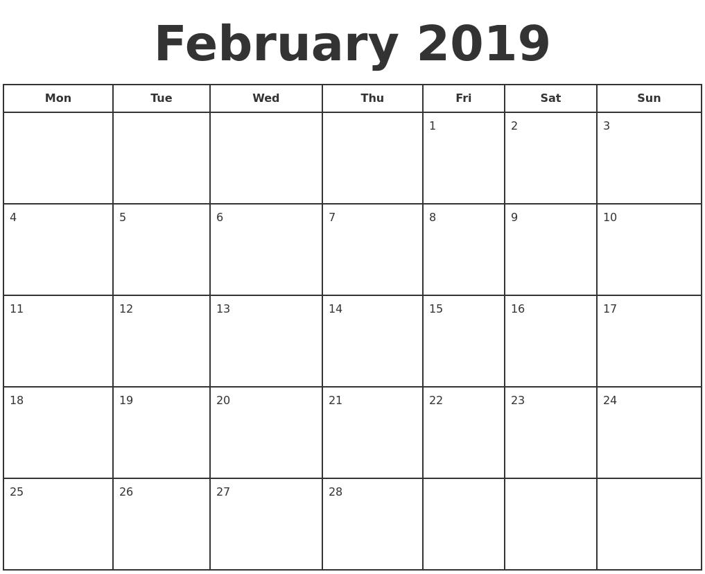 february 2019 print a calendar monday start