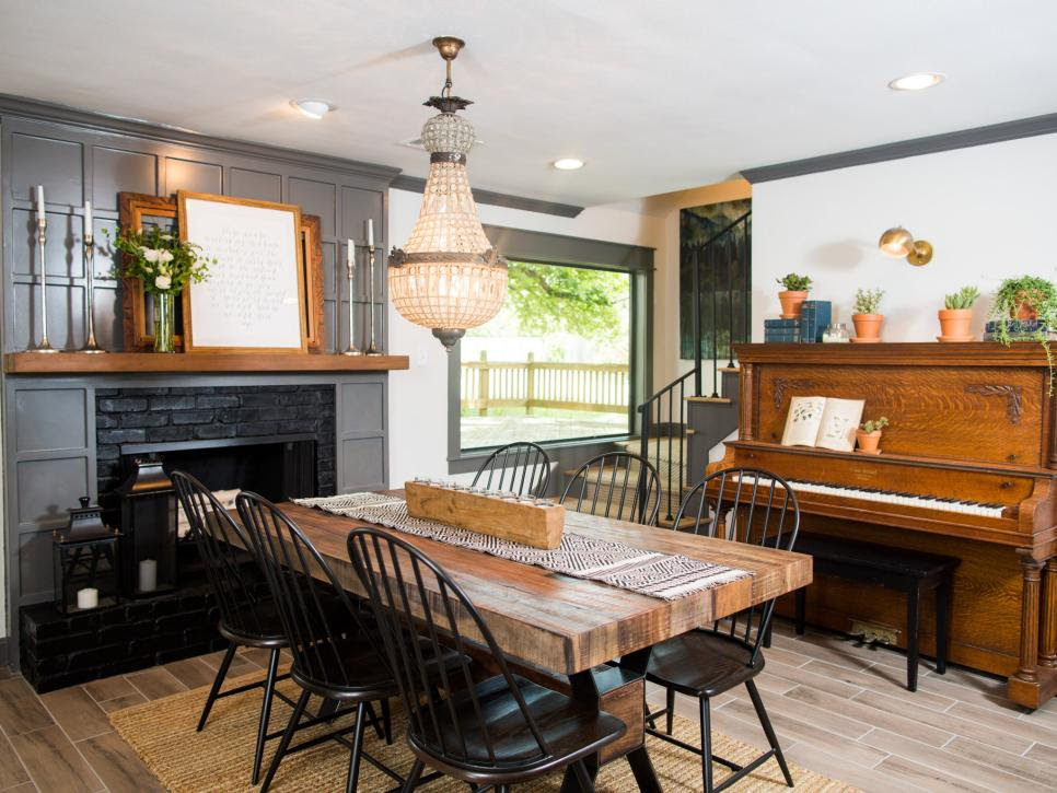 HGTV Fixer Upper Brick House in Waco Texas Dining Room after