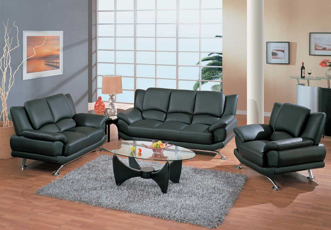 Contemporary Living Room Set in Black Red or Cappuccino ...