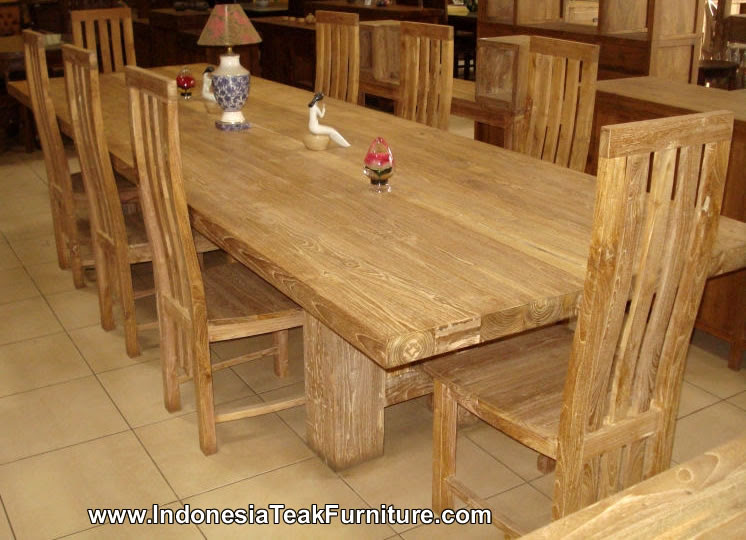 Teak Wood Furniture Dining Table Chairs Set