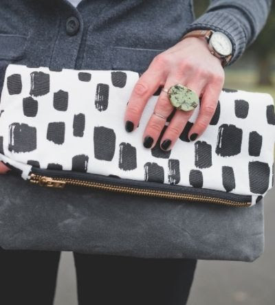 Such Sweet Tierney Dotted Canvas Clutch