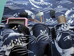 Emergency Bed Bag - upper pocket detail:  phone, glasses, flashlight