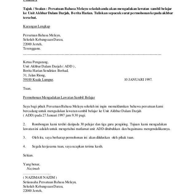 Contoh Karangan Surat Rasmi Dalam Bahasa Inggeris - Rasmi Ru
