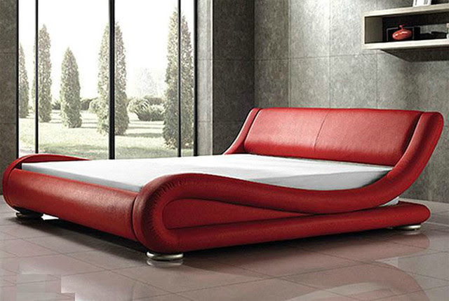 Uniquely Designed Red Leather Bed | Available in Queen and King Sizes