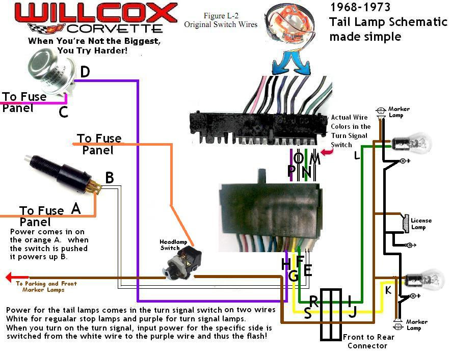 1968-1977 Corvette Wire Schematic 68-77 Tail And Stop Lamp ...
