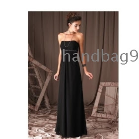 Black strapless evening dress