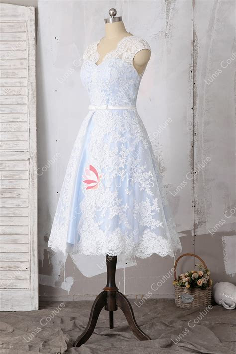 Romantic Retro Sky Blue Lace Tea Length Wedding Dress with