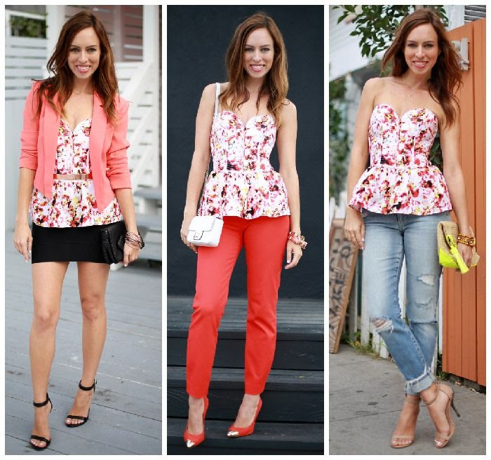 Sydne Style how to wear a peplum bustier top different ways Parker NYC