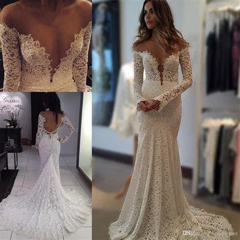 2016 Berta Vintage Lace Wedding Dresses Mermaid Sheer Long