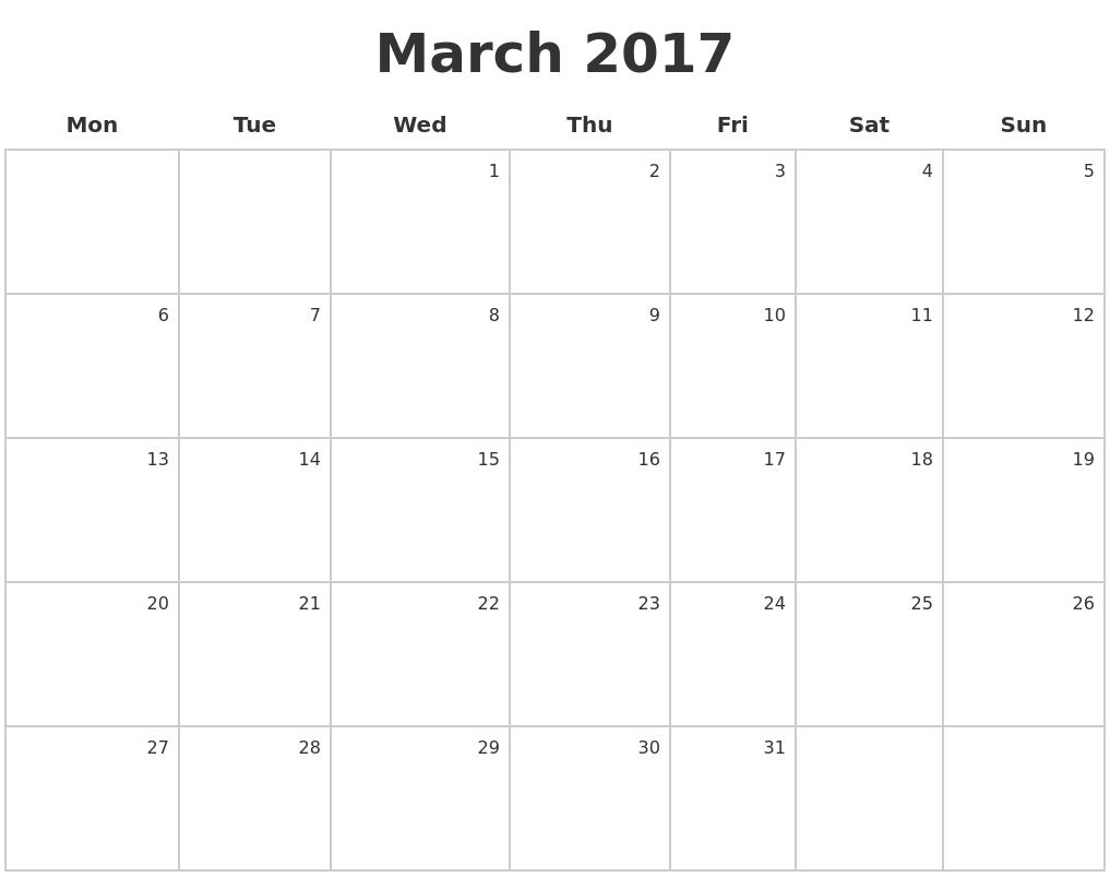 march calendar 2017 monday start february calendars