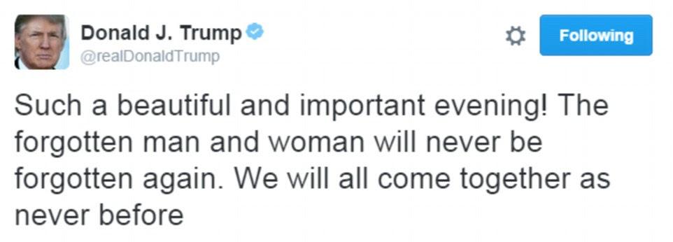 """Primeiro tweet: Donald Trump chamado a noite de sua vitória sensacional """"belo"""" e disse aos americanos: """"Vamos todos juntos como nunca antes '"""