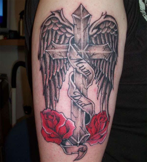 Nice Black Cross With Red Roses Tattoomagz