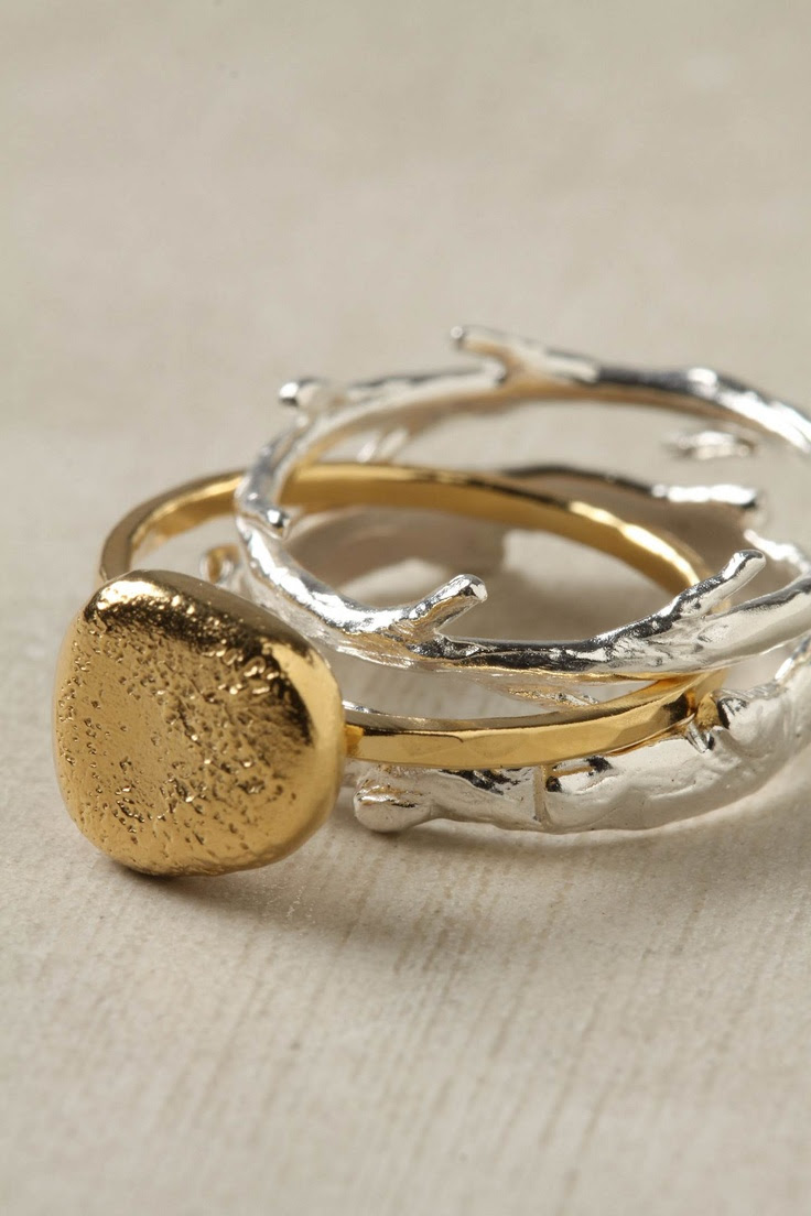 Nesting Ring Set of three rings: Silver branch and twig nestle around a bright, gilded pebble #jewelry #stacking #rings
