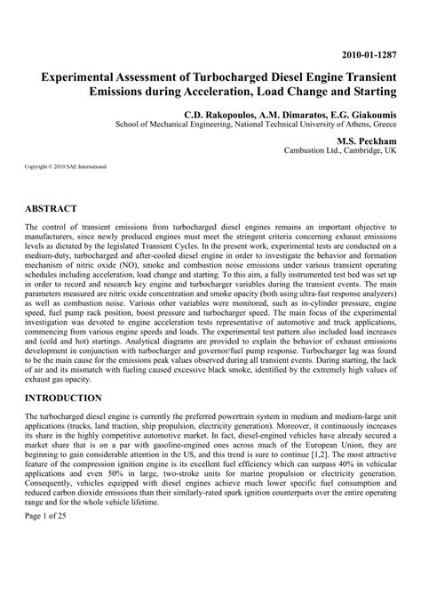 (PDF) Experimental Assessment of Turbocharged Diesel