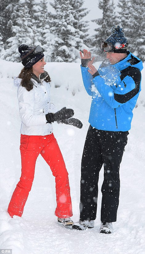 Prince William winced as his wife threw snow in his face