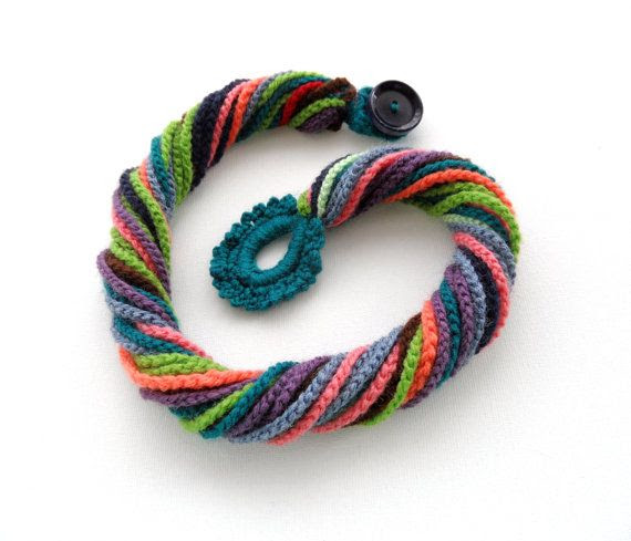 Crochet Necklace  Multicolored Necklace  Chunky  by CraftsbySigita,