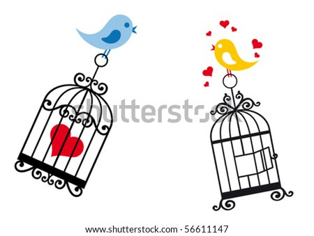 birdcage with love birds for wedding clipart