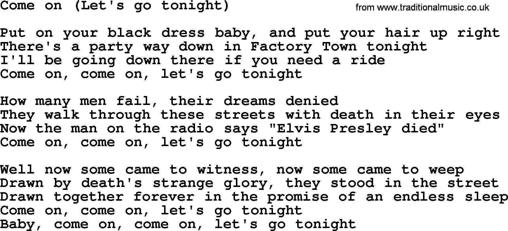 Bruce Springsteen Song Come Onlets Go Tonight Lyrics