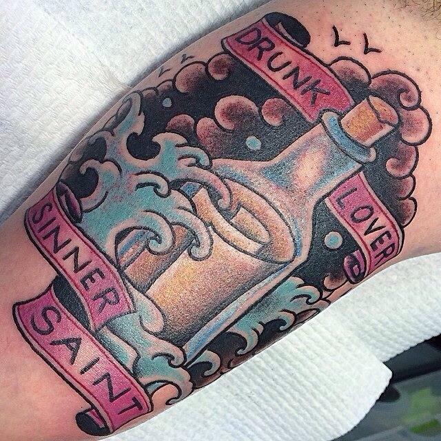 Paulie Surridge At Feel The Steel Message In A Bottle Tattoos