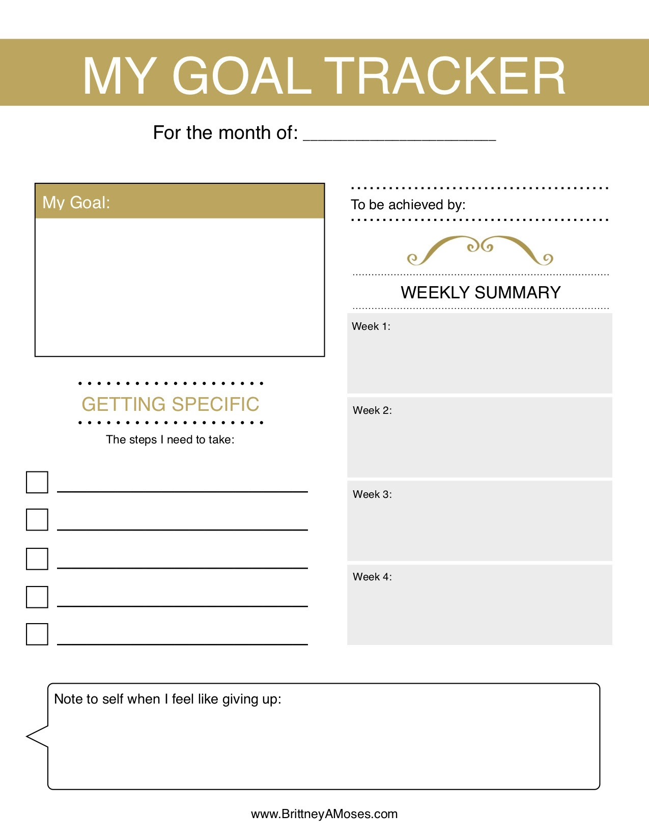 Printable: Monthly Goal Tracker - Brittney Moses
