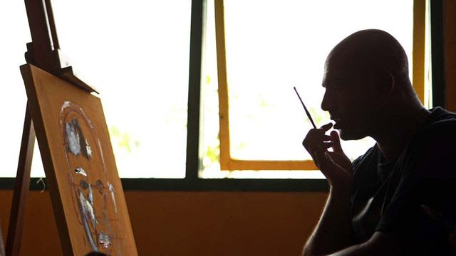 <p>Convicted Bali Nine drug smuggler Myuran Sukumaran has been executed. During his 10 years on death row he has become an artist, and his final paintings give an insight into the grim situation he faced - including one self portrait showing him shot through the heart.</p>