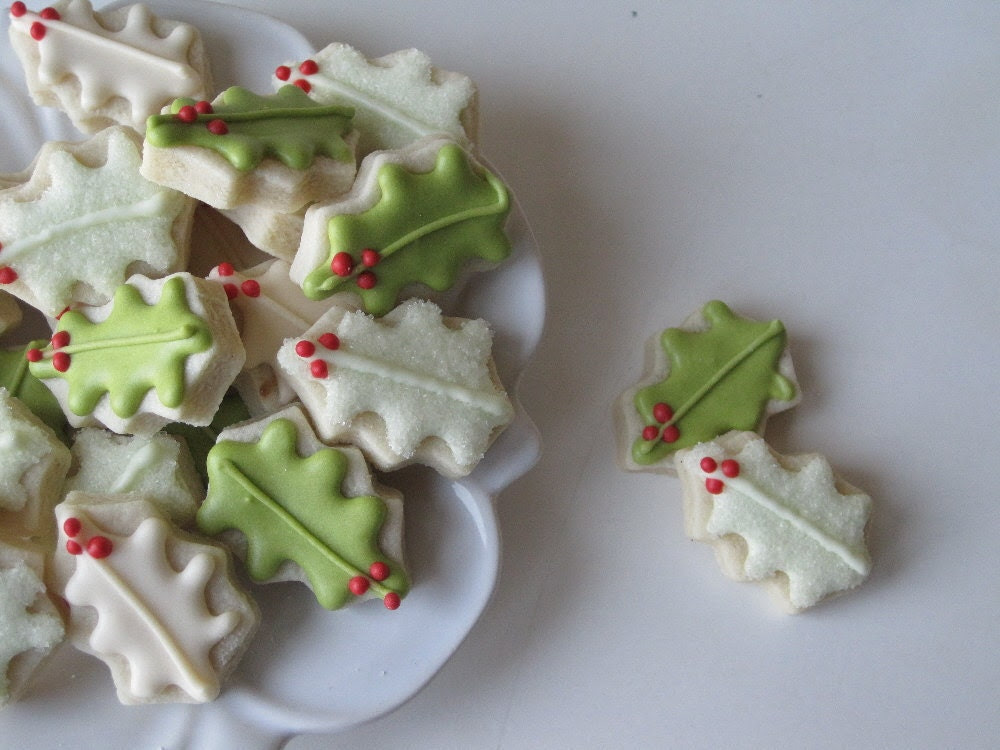 Oh so small HOLLY leaves sugar cookies - 8 dozen