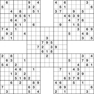 Printable Sudoku Samurai Sudoku