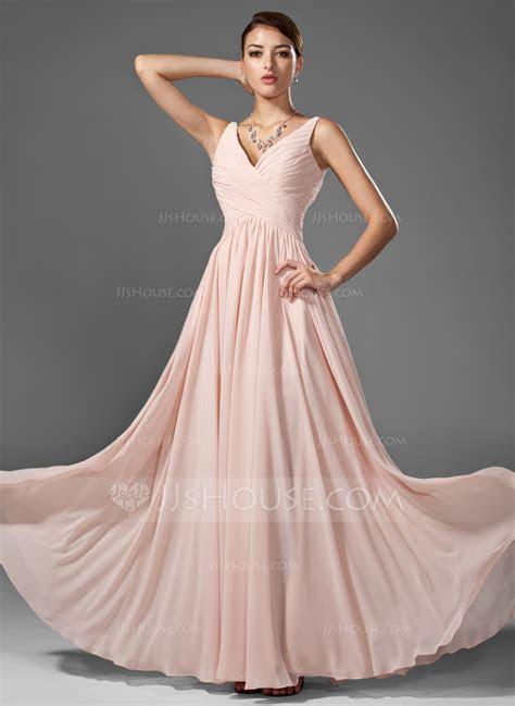 A Line/Princess V neck Floor Length Chiffon Prom Dresses