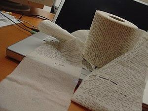 English: A text written on Toilet paper Portug...