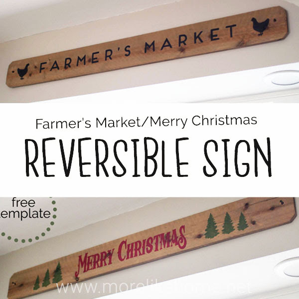 reversible wooden Merry Christmas tree farmers market sign diy