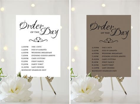 A4 A5 WEDDING SIGN   PERSONALISED   ORDER OF THE DAY