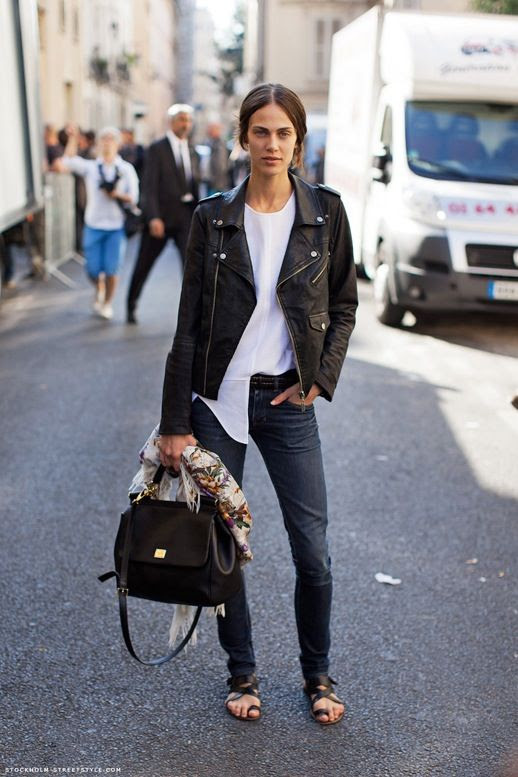 Le Fashion Blog Model Off Duty Street Style Aymeline Valade Paris Fashion Week Black Leather Moto Jacket White Crewneck Ribbed Top Half Tuck Braided Belt Hair Low Messy Bun Skinny Dark Wash Jeans Dolce Gabbana Sicily Dauphine Top Handle Satchel Bag Floral Print Scarf Strappy Black Toe Ring Loop Sandals Via Stockholm Streetstyle 2 photo Le-Fashion-Blog-Model-Off-Duty-Street-Style-Aymeline-Valade-Paris-Fashion-Week-Leather-Moto-Jacket-Via-Stockholm-Streetstyle-2.jpg