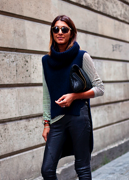 LE FASHION BLOG STREET STYLE OMBRE SHORT HAIR LONG BOB RIBBED FUNNEL NECK KNIT SWEATER DIP BACK HEMMED SLEEVELESS STRIPE LONG SLEEVE SHIRT PANELED LEATHER PANTS STACKED BRACELETS CROC CLUTCH VIA GLAM CANYON