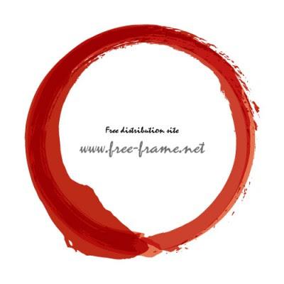赤い墨で書かれた丸のフレーム素材 無料商用可能枠フレーム