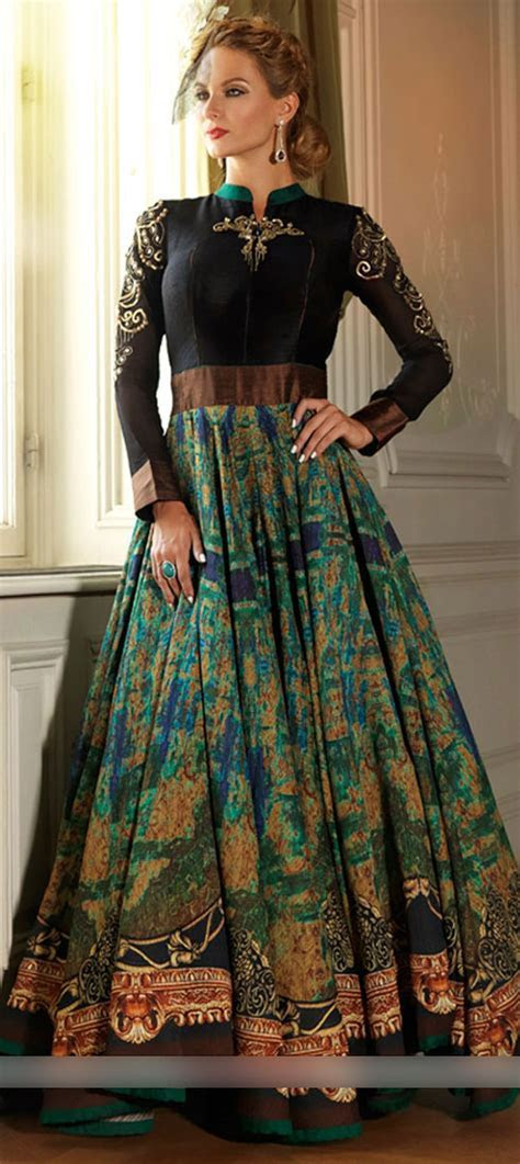 455794: Party Wear Black and Grey, Green color Silk fabric