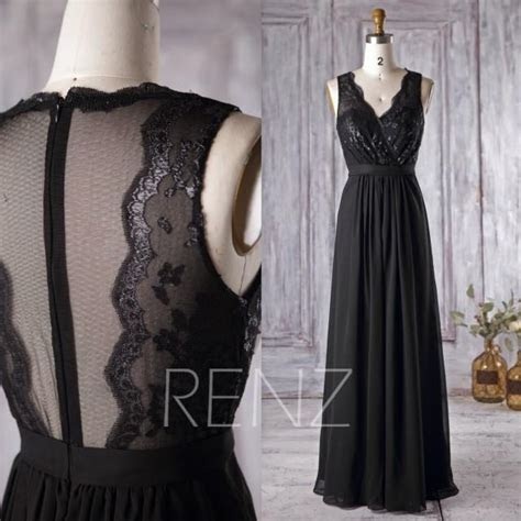 2016 Black Chiffon Bridesmaid Dress, V Neck Lace Wedding