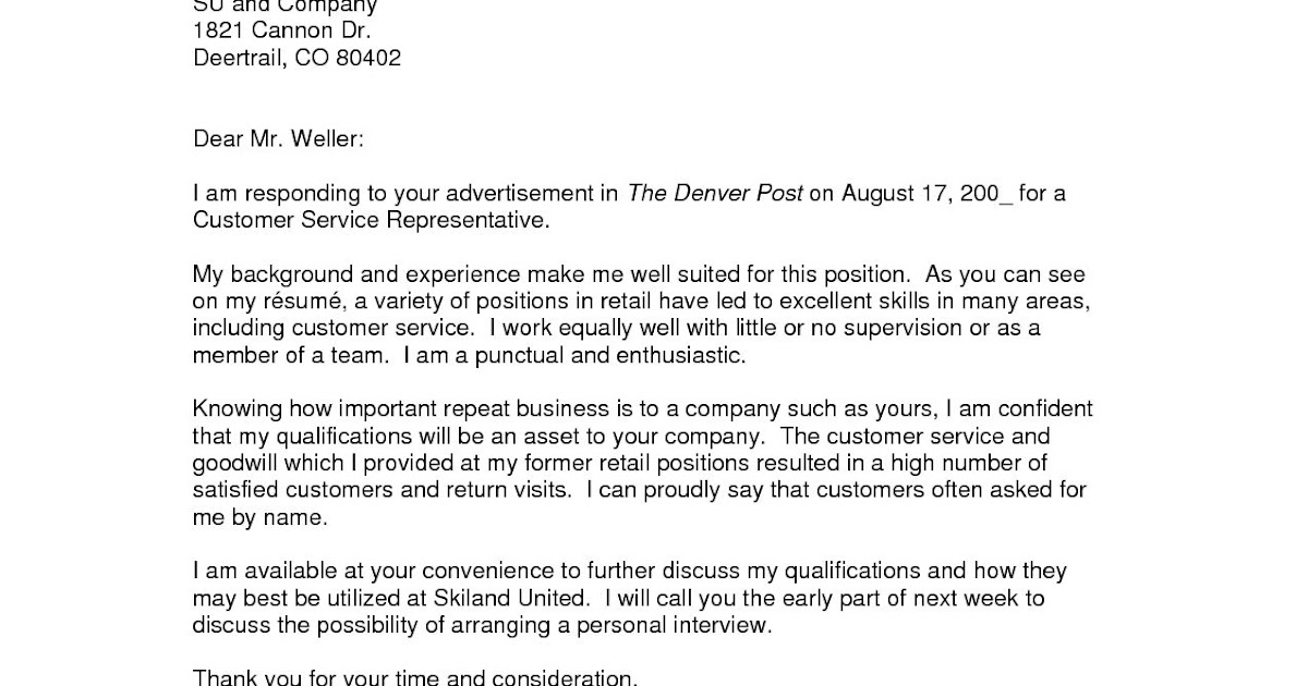 How Do You Write A Cover Letter For A Job You Have No ...