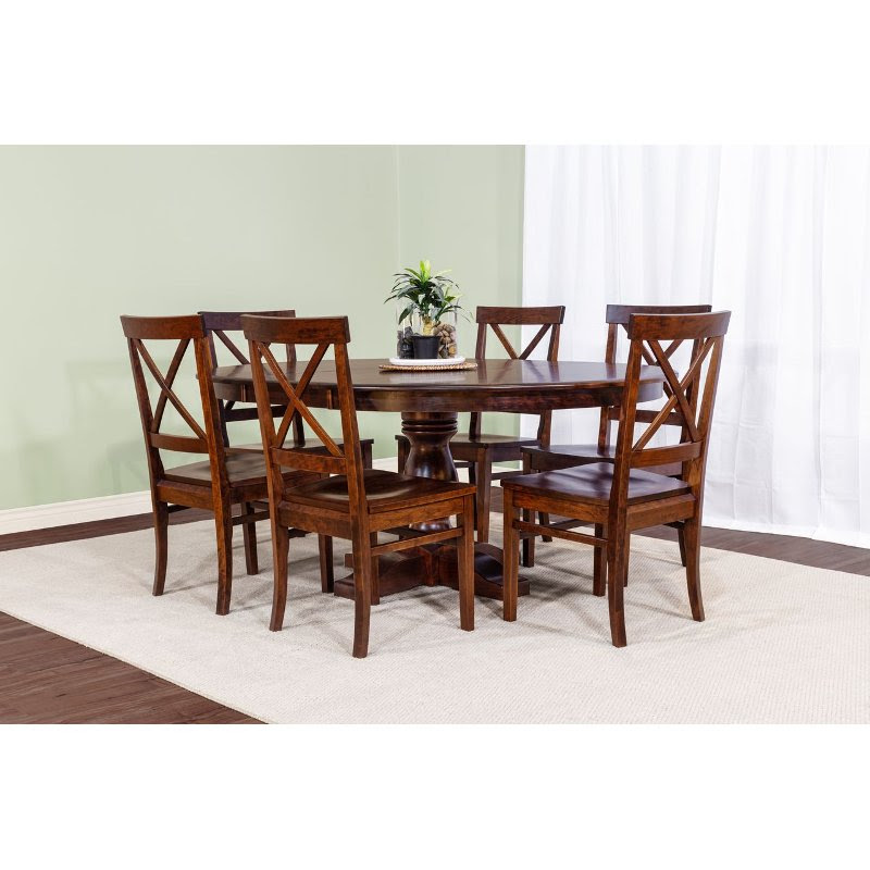 Cherry 5 Piece Dining Room Set With X Back Chairs Abbey Rc Willey Furniture Store