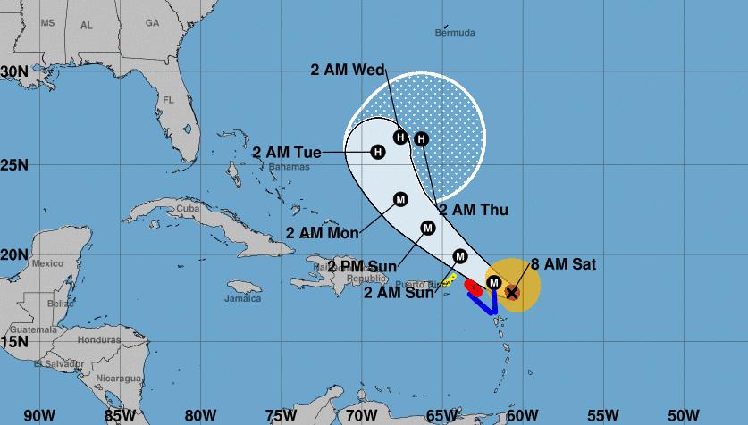 Cono actualizado con la trayectoria del huracán Jose. Imagen: NOAA.
